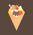 crepes with topping of fruits vector image vector image