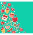 Decorative green background for Valentines day vector image