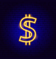 dollar gold neon sign vector image vector image