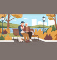 elderly man and woman have a date in park vector image vector image