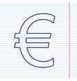 euro sign navy line icon on notebook vector image vector image