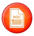 File DOC icon flat style vector image vector image