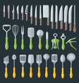 flat kitchenware cutlery tools set vector image vector image