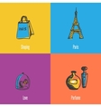 French National Symbols Icons Set vector image vector image