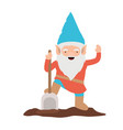 gnome with colorful costume with shovel on white vector image vector image