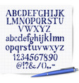 hand drawn blue pen sketch font on lined paper vector image