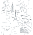 hand drawn tourist map with sights europe vector image