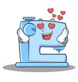in love sewing machine emoticon character vector image