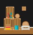 interior home decor wooden boxes vector image