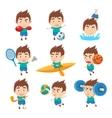 Kid Sportsman Doing Different Sport Types vector image vector image