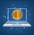 laptop with virtual coin bitcoin vector image
