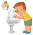 little boy washes his hands with water from vector image