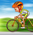 Man riding bike on the road vector image