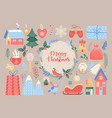 merry christmas cute xmas traditional decoration vector image