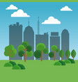 park and cityscape cartoon vector image