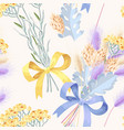pastel seamless pattern with dried flowers vector image