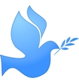peace symbol blue pigeon on white vector image vector image