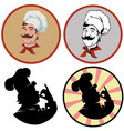 portrait of cheerful cookset of four vector image vector image