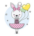 pretty bunny girl vector image