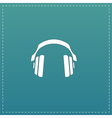 retro headphone flat icon vector image vector image