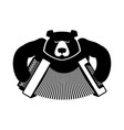 russia logo bear with accordion grizzlies with an vector image vector image