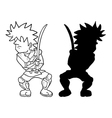samurai fighter draw vector image vector image