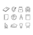 school and education icons set line style vector image
