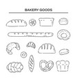 set bakery products bread line doodle icons vector image