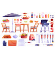 set bbq picnic and grilling icons food drinks vector image