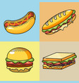 set delicious fast food meal vector image