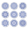 set of decorative plates with a arabic blue vector image vector image