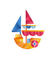 small sloop ship with colored sails flat vector image vector image