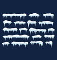 snow caps with icicles snowballs icons set vector image