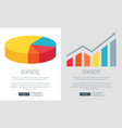 statistic design with pie chart and bar graph vector image vector image