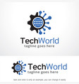 tech world logo template design emblem design vector image