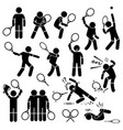 tennis player actions poses postures stick figure vector image vector image