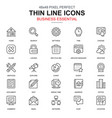 thin line business essential office icons set vector image