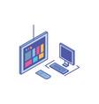 tv screen with desktop computer screen and vector image vector image