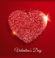 valentines day background with shining red heart vector image vector image