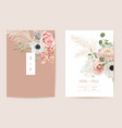 wedding dried anemone pampas grass roses floral vector image vector image