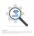 wifi icon logo search glass with gear symbol icon vector image