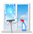 window cleaning squeege 3d detergent spray vector image