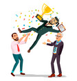 winner businessman throwing colleague up vector image