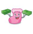 with money bag sock mascot cartoon style vector image