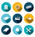 Woodworking flat Icons set vector image vector image