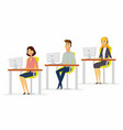 workday in a call center - modern cartoon people vector image vector image