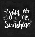 you are my sunshine - hand drawn typography poster vector image vector image