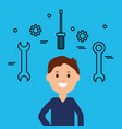 young businessman with tools vector image
