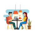 young couple talking and drinking tea vector image vector image