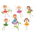 Cartoon character set of cute little fairies vector image